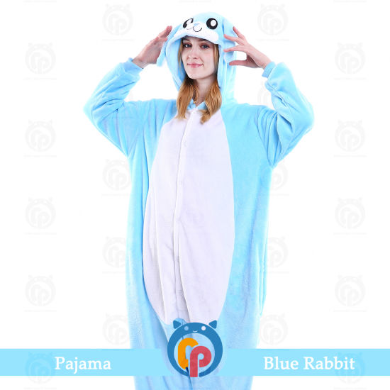 Drop Shipping Carnival Party Cosplay Animal Pink Rabbit Bunny Costume for Adults Hooded Jumpsuit