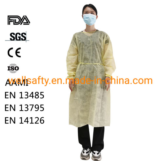Non-Sterile Isolation Gown PP PE SMS CPE Disposable AAMI Gown Waterproof White Yellow Level 2 3 Protective Coverall L XL XXL Overall Suits 510K En14126