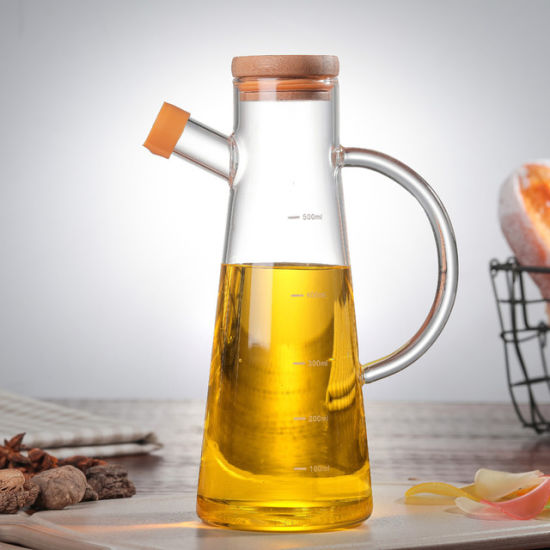 Popular High Borosilicate Glass Bottle for Oil with Wood Cap