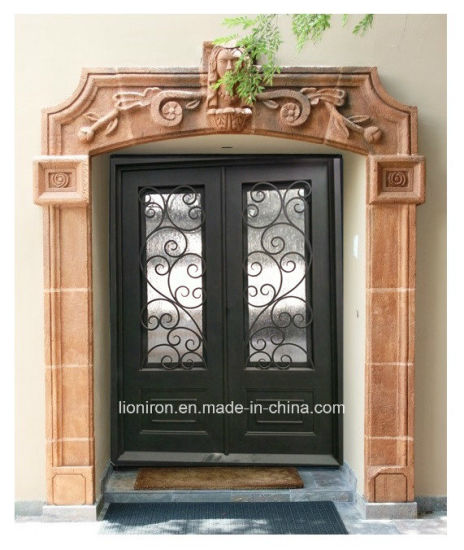 China Xiamen Unique Design Wrought Iron Glass Front Doors China