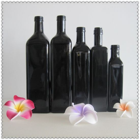 Black Marasca Glass Olive Oil Bottle pictures & photos
