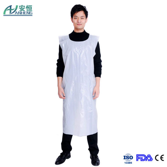 Plain PE Disposable Waterproof Apron Flat Packed Apron
