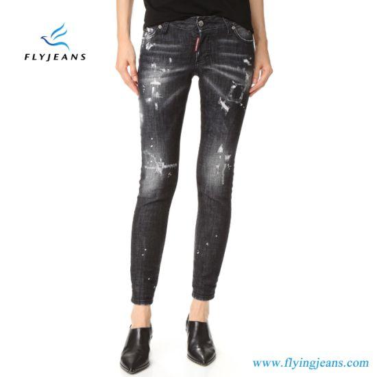 89705bae85284 Fashion Paint Embroidered Whisker Skinny Women Denim Jeans (Pants E. P. 333)