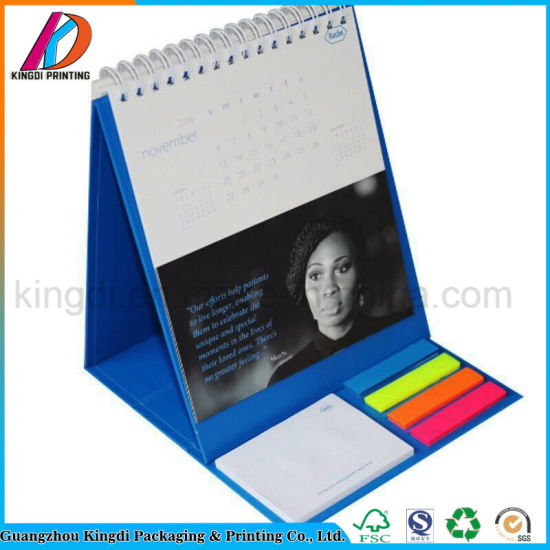 Custom Office Supply Spiral Binding Paper Table Calendar with Memo Pad