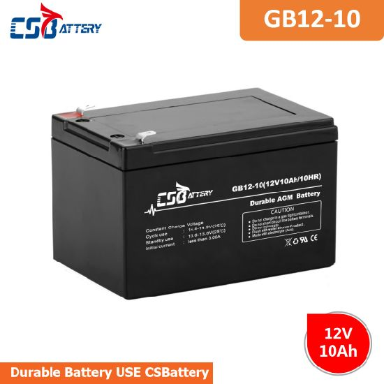 Csbattery 12V10ah Solar Storage AGM Battery for Emergency Lighting China Manufacturer