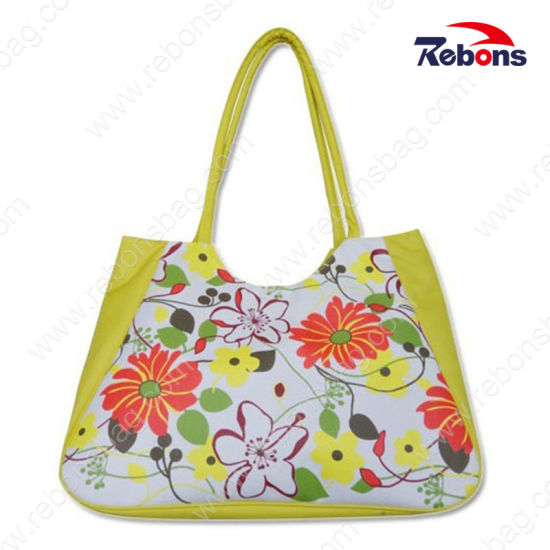 Best Selling Woman Fabric Flower Printed Tote Beach Shopping Bags
