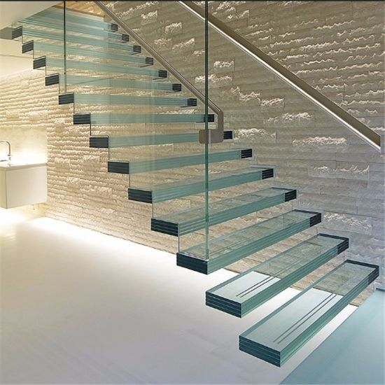 Indoor Tempered Glass Floating Stairs, Wood Floating Staircase With  Staircase Railing And Handrail