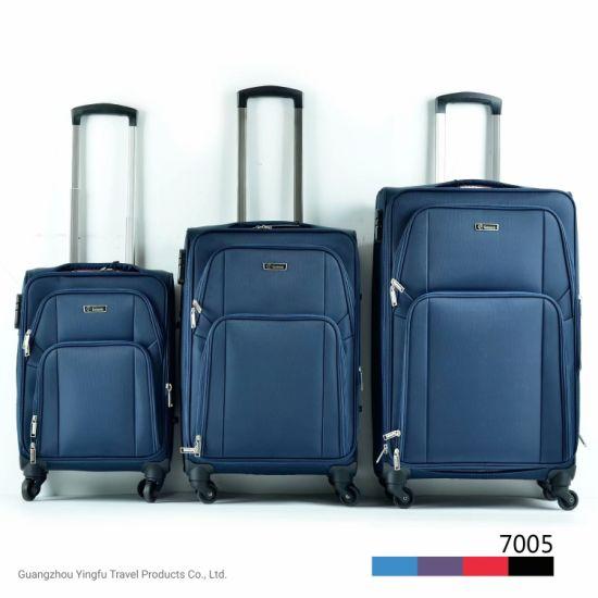China Wheeled Soft Luggage Bag Suitcases with Aluminum Trolley Tube