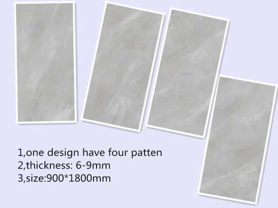 China 900*1800*6mm Marble Gray Color Porcelain Thin Tiles