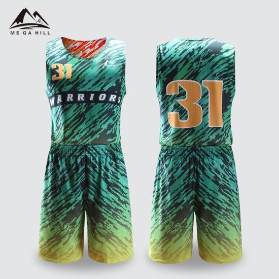 China Custom Latest Design Green Orange Color Sublimated Sublimation