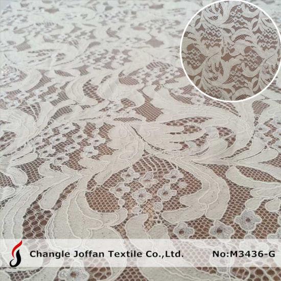 Fashion Wedding Dress Cotton Lace Fabric Embroidery Lace (M3436-G)