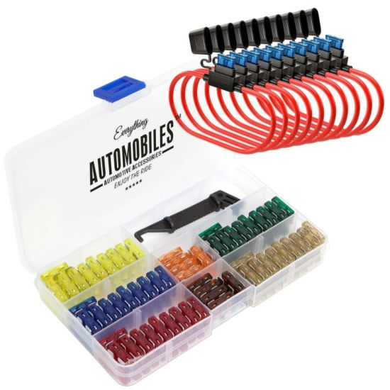 Everything Automobiles, 120 Assorted Fuses with 10 Inline Fuse Holders - Includes Fuse Puller Tool, Great for Use on Cars