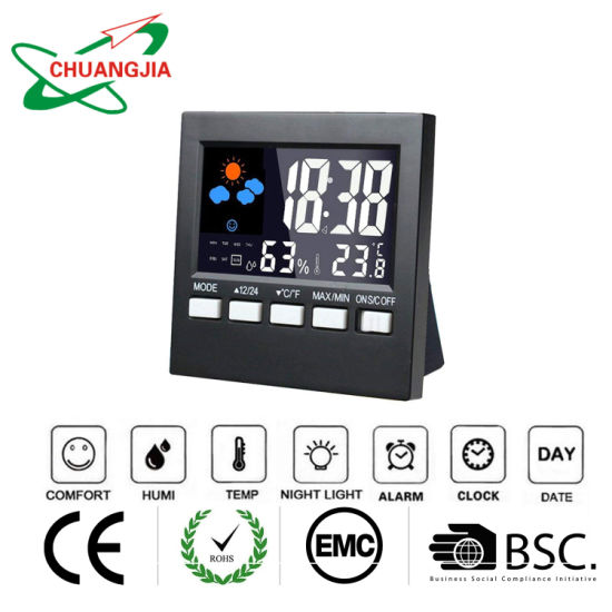 Multi-Functional Digital Colorful LCD Alarm Clock with Thermometer Hygrometer Display pictures & photos