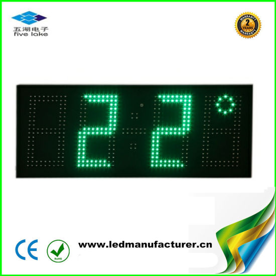 "7"" Green Outdoor Waterproof LED Clock with Temperature"