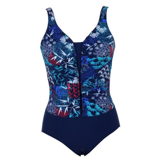 Ladies Printed Fabric with Lace Trim One-Piece Swimwear