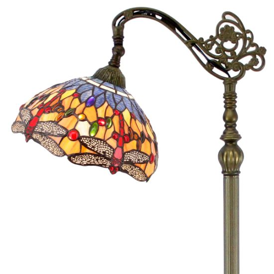 Tff-8773 Tiffany Style Stained Glass Dragonfly Lampshade Antique Floor Standing Lamp