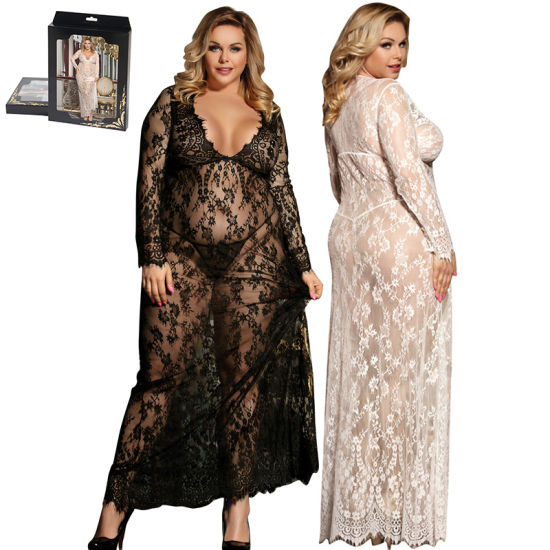 Plus Size Seduction Lace Transparente Sexy Nightgown