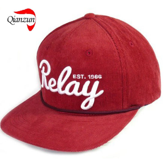 China 3d Embroidery Corduroy Snapback Hats Red China 3d Embroidery