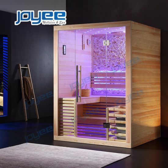 Joyee Hot Selling Indoor Home 2 4 Person 2 Layers Traditional Big Size Square Sauna Room Manufacturers Sauna for Sales