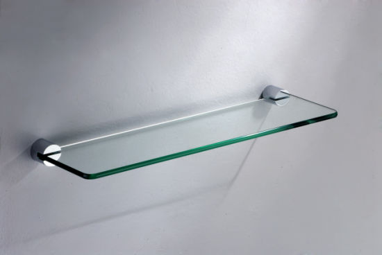 Square Round Clear/Frosted Tempered Glass Bathroom Shelf