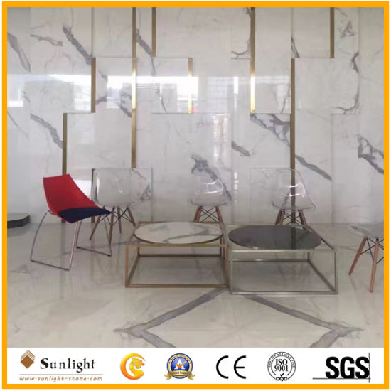 Polished Italian Calacatta White Marble Slabs For Tiles, Table Tops