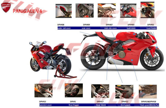 Full Set of Carbon Fiber Motorcycle Accessory Parts for Ducati Panigale V4