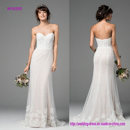 Exposed Boning Bodice Wedding Dress with Welcomed Edge to The Sweet Lace