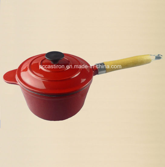 Enamel Cast Iron Double Use Milk Pot with Lid as Frypan pictures & photos