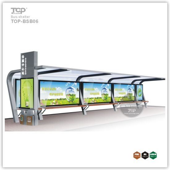 Outdoor Stainless Steel Structure Aluminum Alloy Bus Shelter Advertising Light Box