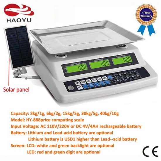 Vegetable Price Computing Weighing Digital Scale with Solar Panel pictures & photos