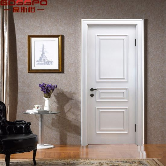 China White Custom Main Solid Wood Interior Door For Houses Gsp2