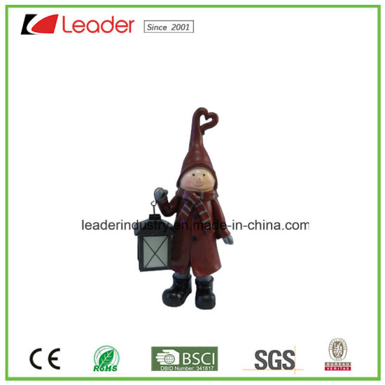 Polyresin Christmas Decorative Santa Figurine Candle Holder for Home Decoration pictures & photos