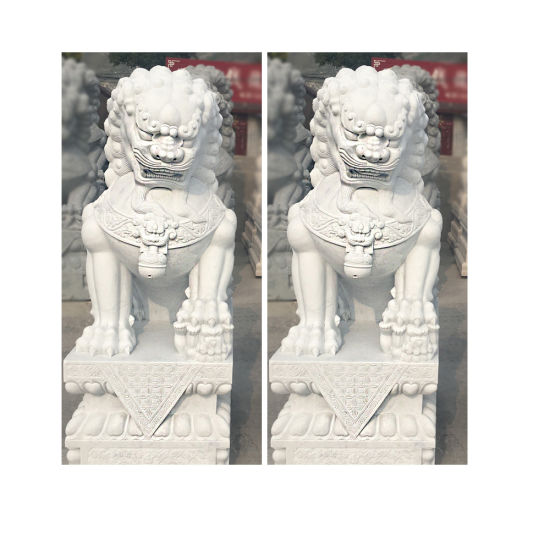 White Marble Stone Animal Statue Carving Lion Sculpture