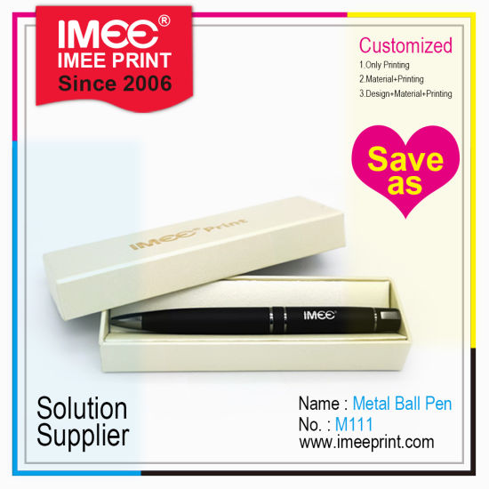 Imee Custom Design Logo Laser Engraving Printing Delicate Box Metal Ball Pen Promotion Gift