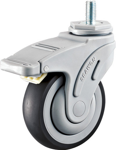 Threaed Stem TPR Wheel Medical Casters with Brake