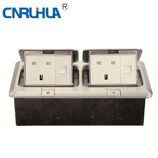 Whole Sales OEM Cnruihua Double British 13A Telephone-Computer & One-Way Floor Socket pictures & photos