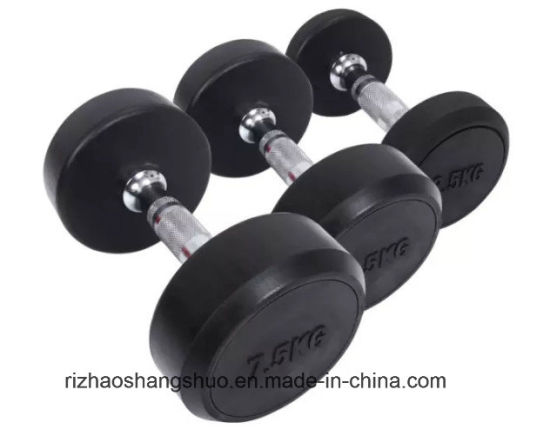 Wholesale Gym Equipment Crossfit Cast Iron Rubber Round Head Dumbbell