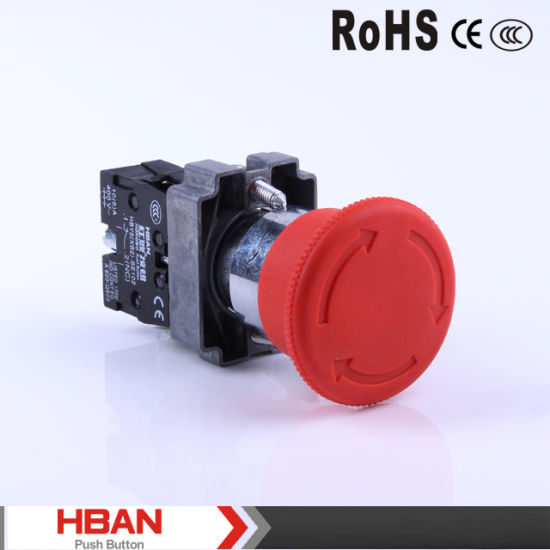 22MM NO//NC Red Emergency Stop Switch Flat Momentary Push Button Controller O
