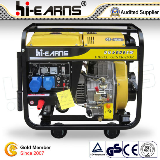 Open Frame Type Welding Diesel Generator with Handle and Wheels (DG6000EW) pictures & photos