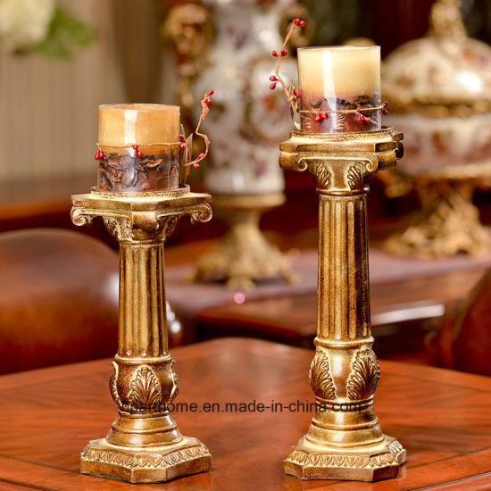Roman Christmas Ornaments.China Antique Gold Finish Roman Pillar Polyresin Candle