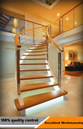 High Quality Curved Stair Modern Home Decor Gl Wooden Floating Staircase