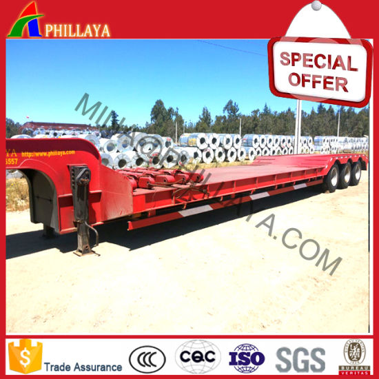 3axles 40-60ton Lowboy Flatbed Truck Low Bed Semi Trailers pictures & photos