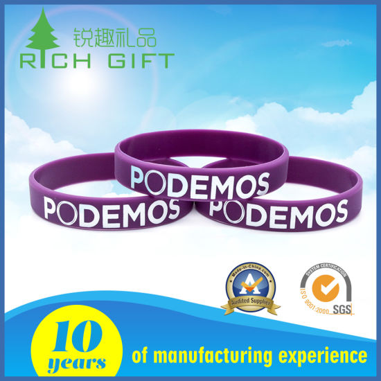 Supply Custom Fine Environmental Printed Silicone Bracelet for Organization Association pictures & photos