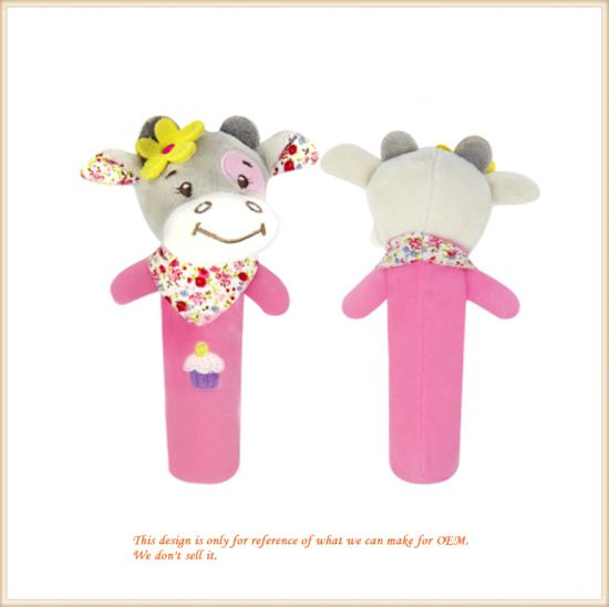 Rattles Baby Toy Soft Cow Plush Doll Stuffed Animal Toy