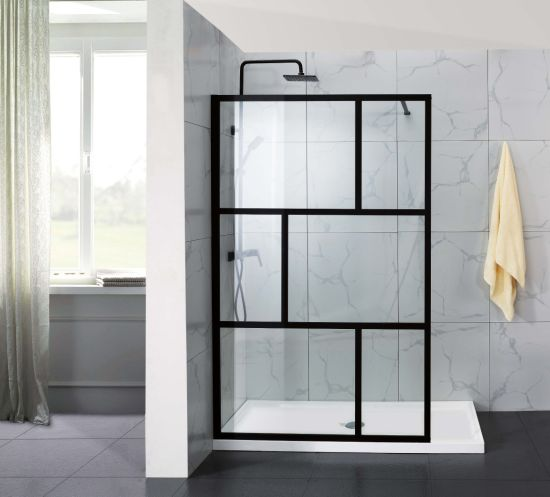 New Collection W03 Full Frame Tempered Glass Walkin Bathroom Shower Door