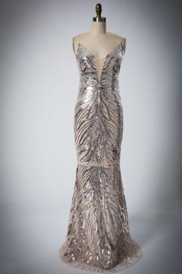Ladies'new Deep V Sequin Evening Dress