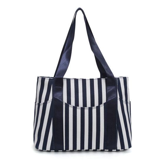 Mommy Bag Daily Working Handbag Roomy Shopping Bag Women Handle Striped Canvas Tote Bag