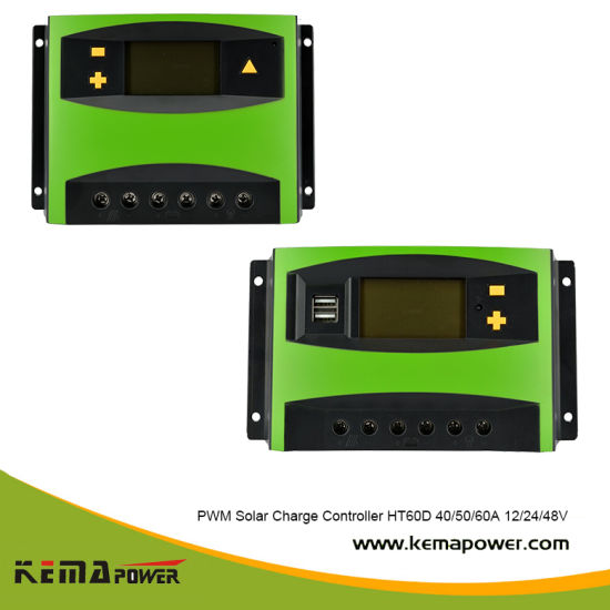 12V 24V DC 10-60A LCD PWM Solar Charge Controller with USB for Solar System