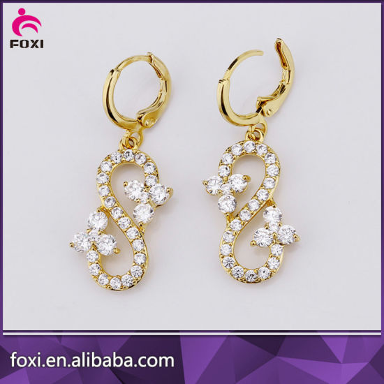 Wholesale Fashion Diamond Trendy Zircon Hanging Stud Earrings Jewelry pictures & photos