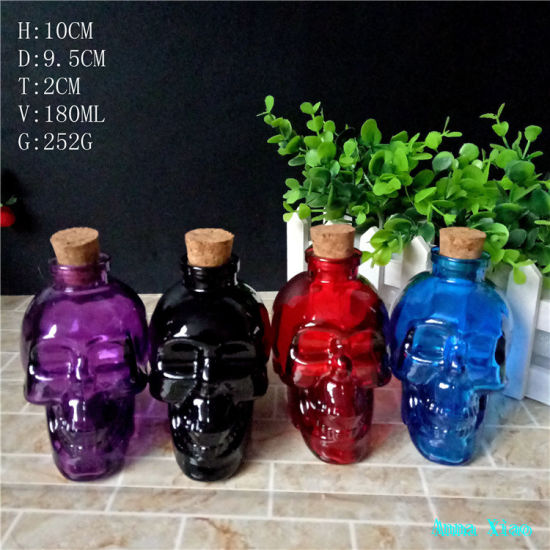6oz Sprayed Skull Glass Bottles 180ml pictures & photos
